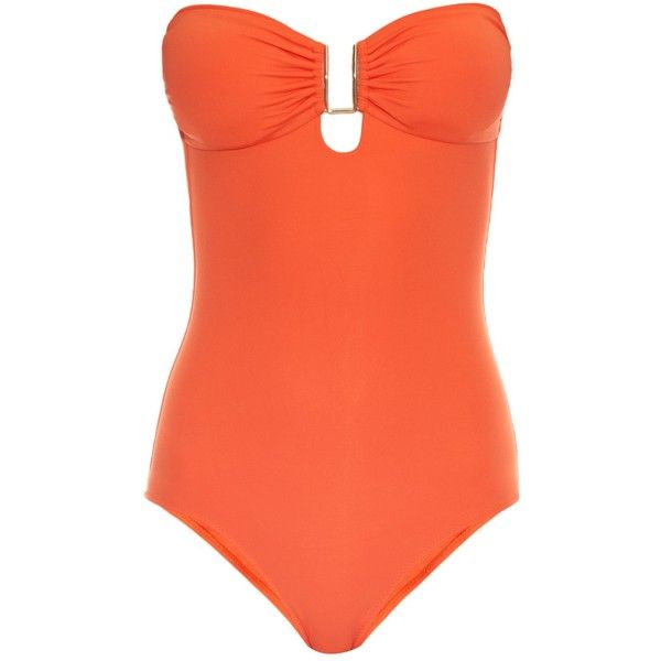 Melissa Odabash Argentina bandeau swimsuit ($228) ❤ liked on Polyvore featuring swimwear, one-piece swimsuits, orange, halter top, halter bathing suit, shirred one piece swimsuit, orange one piece swimsuit and shirred halter swimsuit