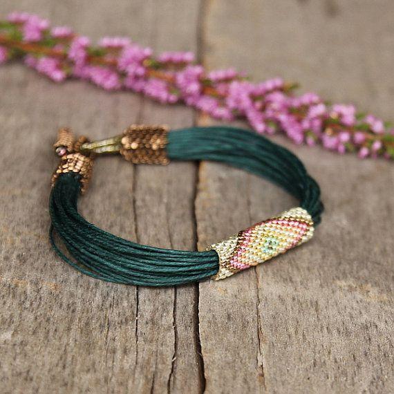 Green linen bracelet ethnic colorful bracelet by Naryajewelry, $40.00