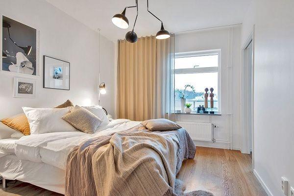 Scandinavian duplex - dormitor design scandinav, culori neutre