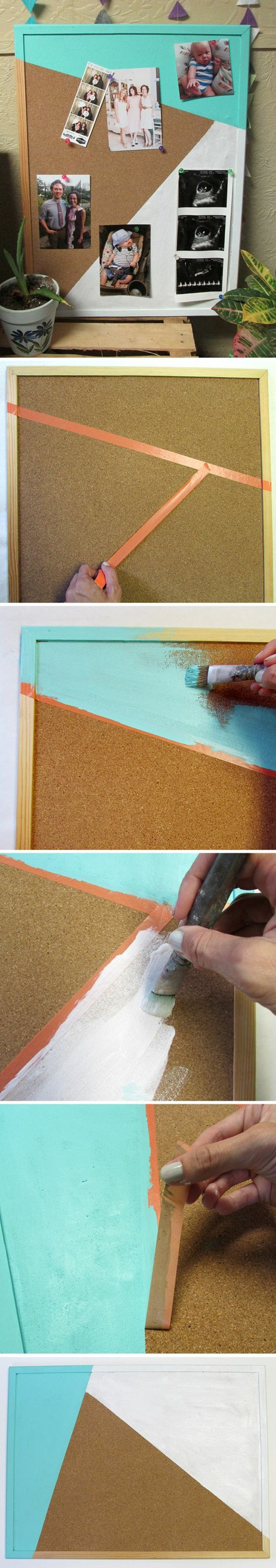 pinnwand aus kork färben, klebeband, blaue farbe, fotos