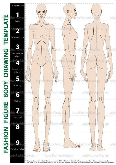 Fashion Drawing Template: Front, Side, and Back view