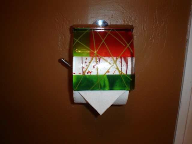 Custom tissue cover for bathroom by Barbara Draughon.  Very simple to change cover for holidays or seasons.