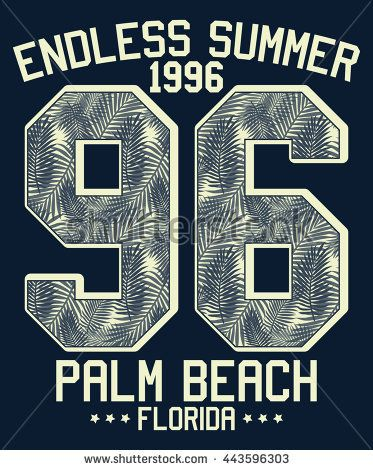 Endless summer - Florida typography, t-shirt graphics, vectors