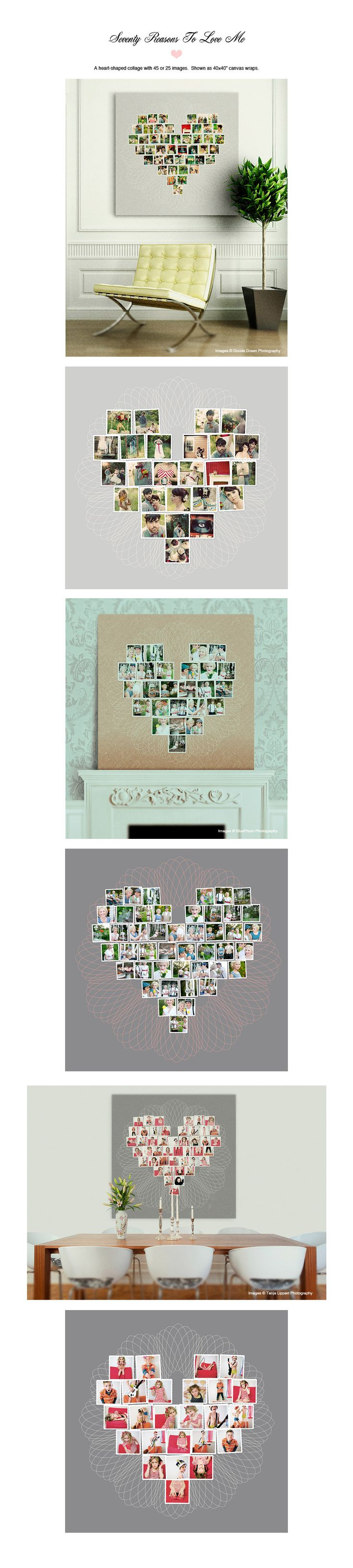 """70 reasons to love me"" design aglow template showing 45 to 25 images."