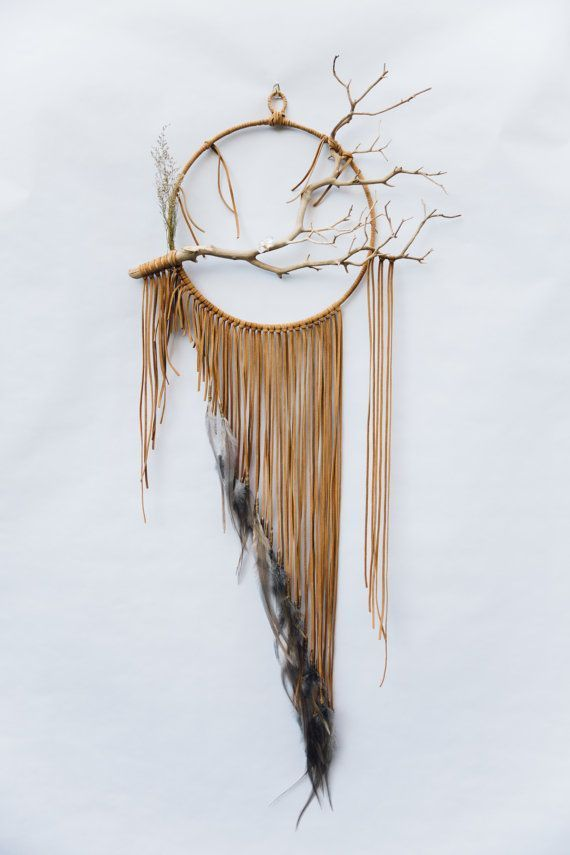 """Branch Dreamcatcher, Falcon – 12 """", big dream catcher made of gray and brown leather #made by hand"""