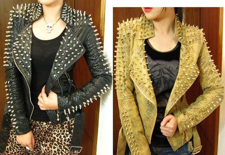 2013 Women zipper black glod Punk Strong Spike Rivet Studded Shoulder Snake Pattern PU Leather Jacket Coat autumn streetwear $88.88 - 93.00