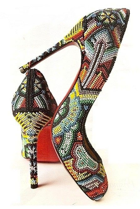 Christian Louboutin Multicolor Beaded Pumps #CL #Louboutins #Shoes #Heels