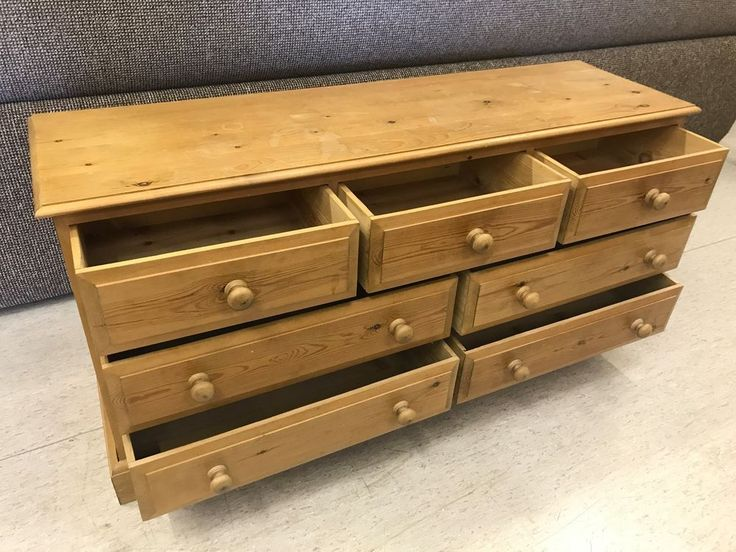 A LARGE QUALITY SOLID NATURAL PINE WOODEN CHEST OF 7 DRAWERS COUNTRY COTTAGE #Country