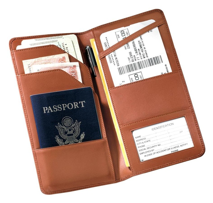 Checkpoint Leather Passport Wallet w Document Slots & Pen Holder in brown
