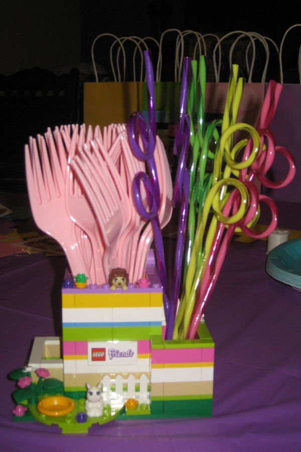 Lego Friends Birthday Party using Lego Friends Pencil Holder to hold forks and straws