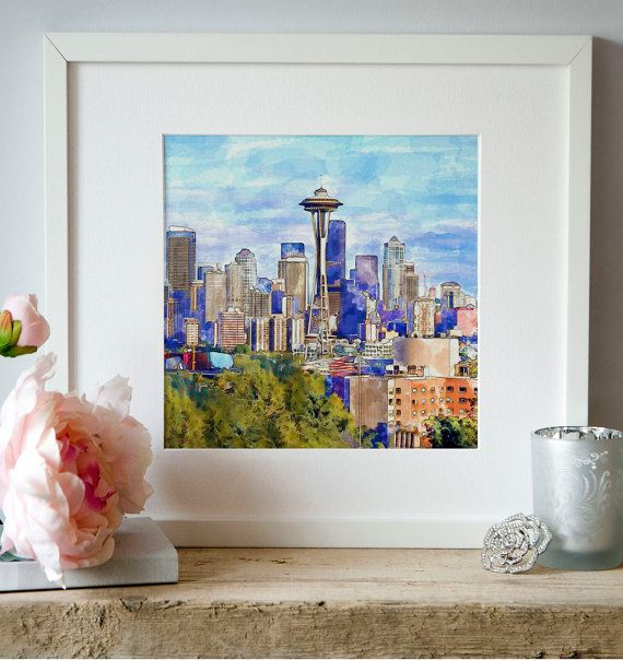 Seattle Cityscape watercolor painting for instant by Artsyndrome