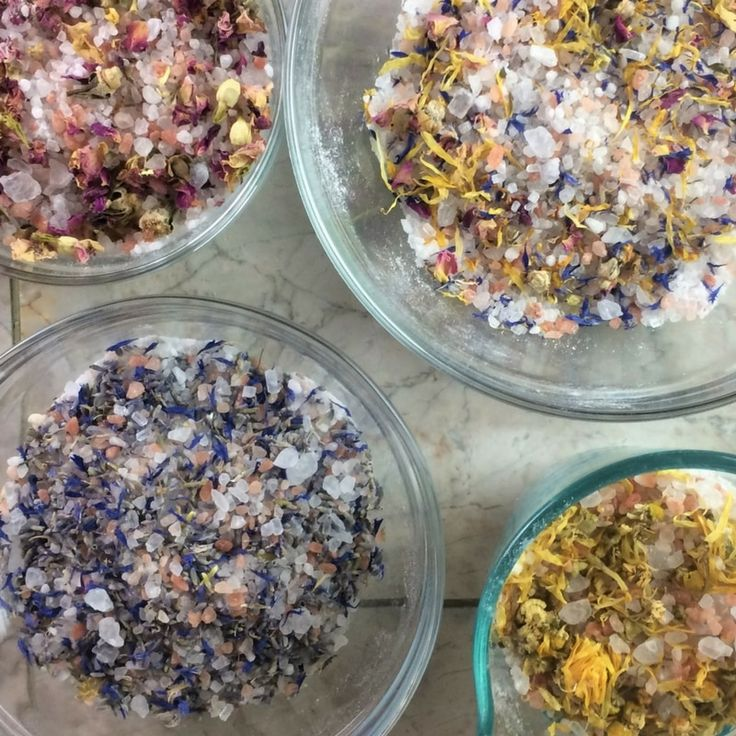 DIY floral bath salts with essential oils - easy recipes for stress, sleep, inflammation, achy muscles, anxious feelings, & soothing dry skin