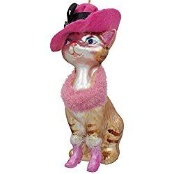 """5"""" Lady Cat with Pink Hat Glass Christmas Ornament"""