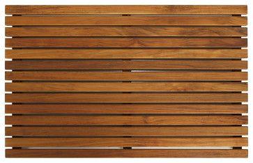 Zen Shower Mat in Solid Teak Wood craftsman-bath-mats