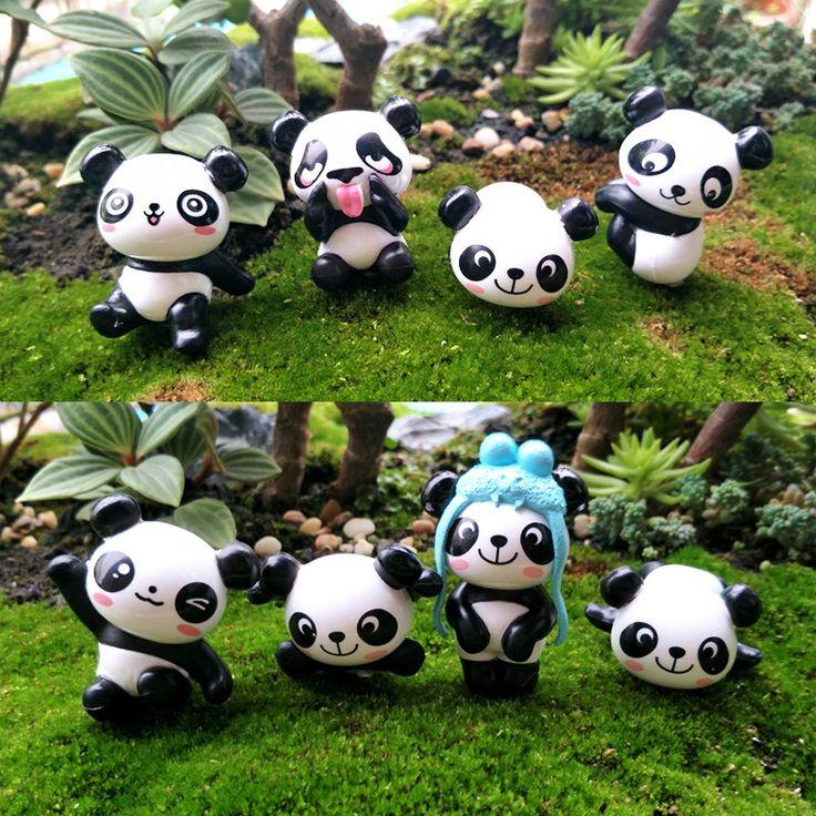 8pcs/set Cute Panda Moss Micro Landscape Resin Funny Panda Babies Ornament Fairy Garden Miniature Terrarium Figurine Decoration