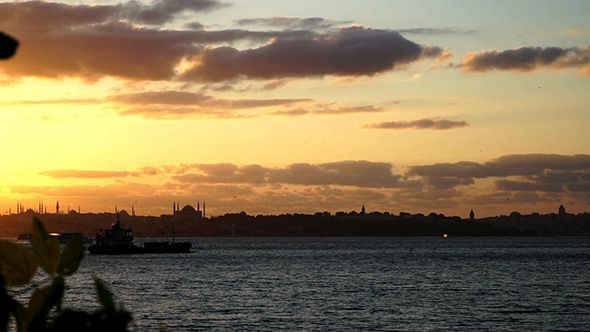 Ship and Historical Istanbul Landscape