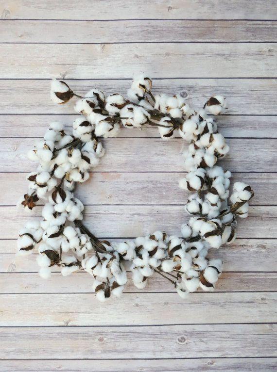 Cotton Wreath - Cotton Boll Wreath - Preserved Cotton - Spring Wreath - Year round Wreath -Welcome Wreath -Front Door Wreath -Wedding Wreath