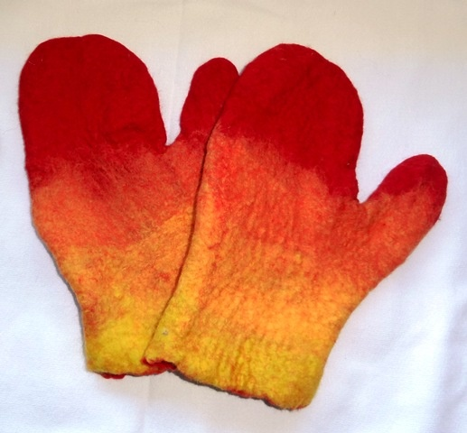 Hand Felted Mittens.  Warm and cozy!
