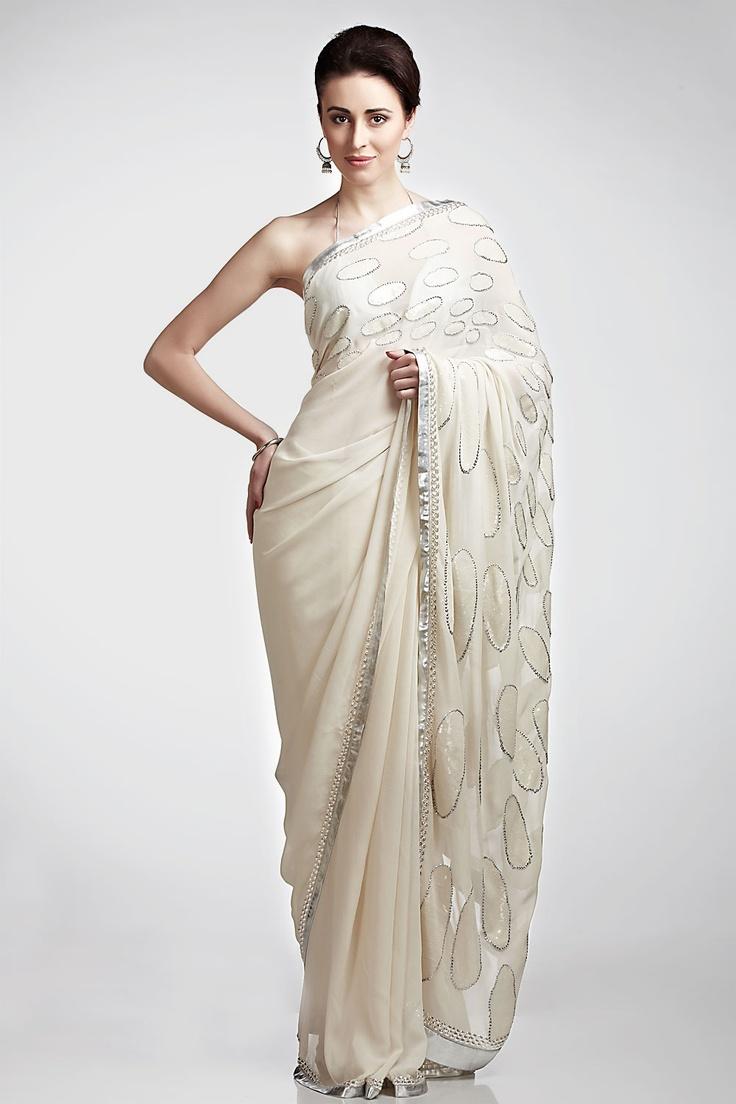 Ivory polka embroidered saree   Satya Paul