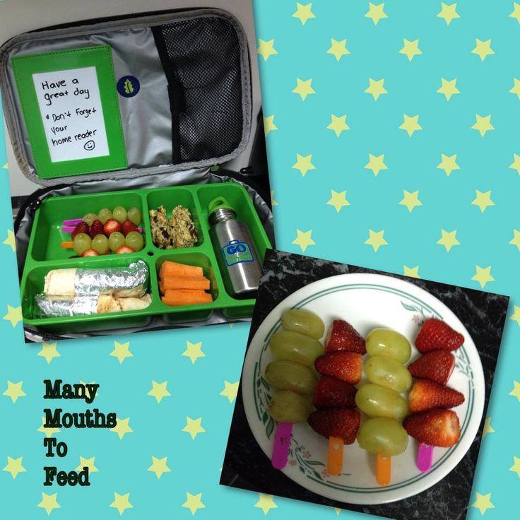 Go Green lunch box , featuring fruit kebab sticks re cycling Fandangle ice cream sticks