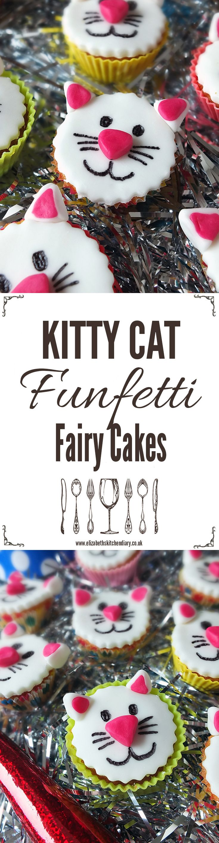 Celebrate your cat's birthday in style with these quick and easy kitty cat funfetti fairy cakes! Great for kids' parties too. In collaboration with Whiskas.