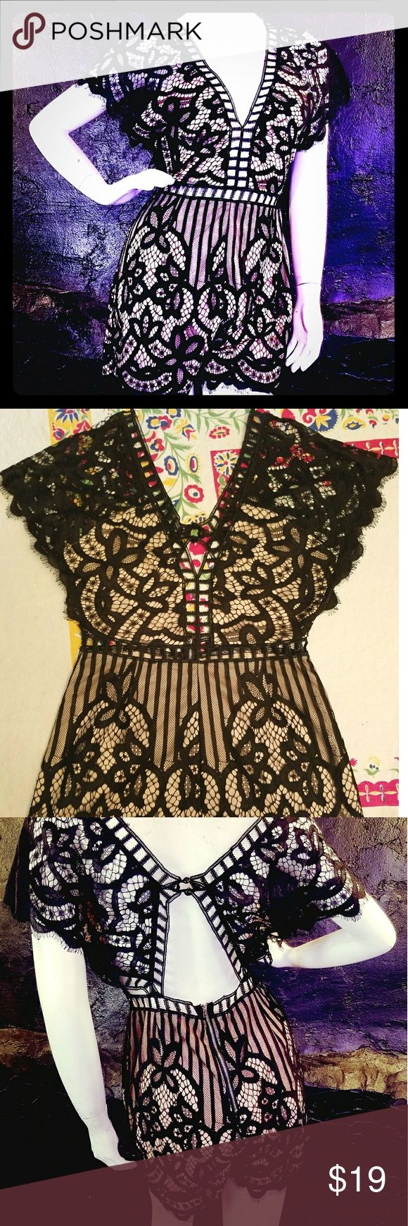 """Black Eyelet Lace Short Romper w/Cream Lining Black eyelet lace shorts jumpsuit/romper w/short sleeves, deep-V front, keyhole back. Elegantly sexy and fun. 31"""" shoulder to hem; 14"""" across waist (1 side). Best for under 5''9"""" tall. Hot & Delicious Dresses"""