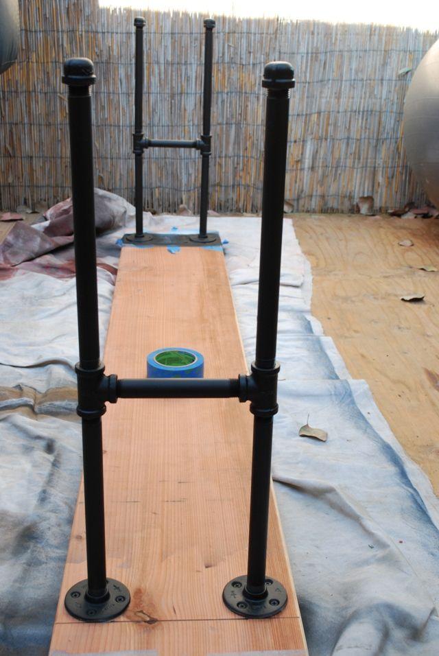 Brass Jones: DIY Industrial Sofa Back Table