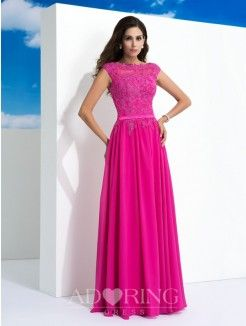 A-Line Sheer Neck Sleeveless Lace Floor-Length Chiffon Dress