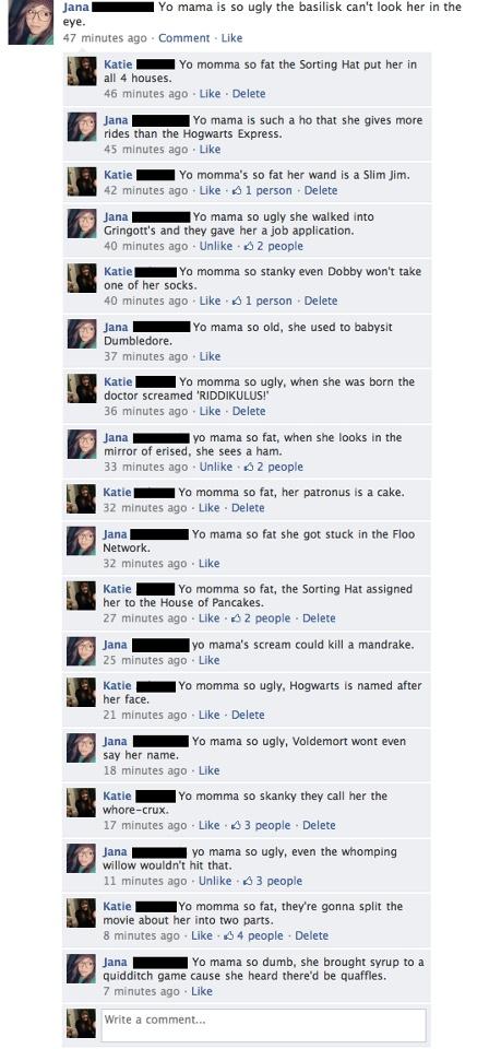 Harry Potter: Yo' Momma Jokes :D