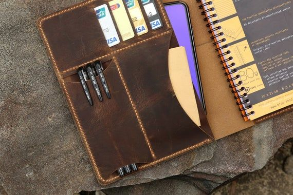 Personalized Real Genuine Leather Cover Portfolio For Rhodia Etsy In 2020 Sewing Leather Leather Notebook Cover Leather