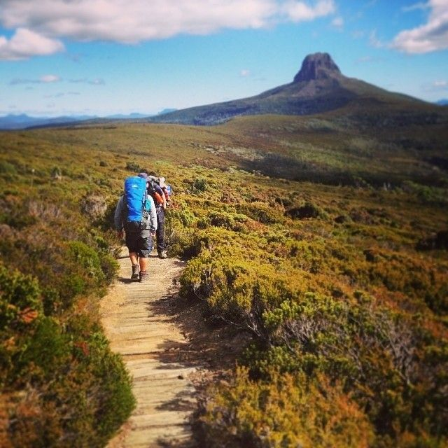 Hiking towards Barn Bluff on Tasmania's world-renowned Overland Track.