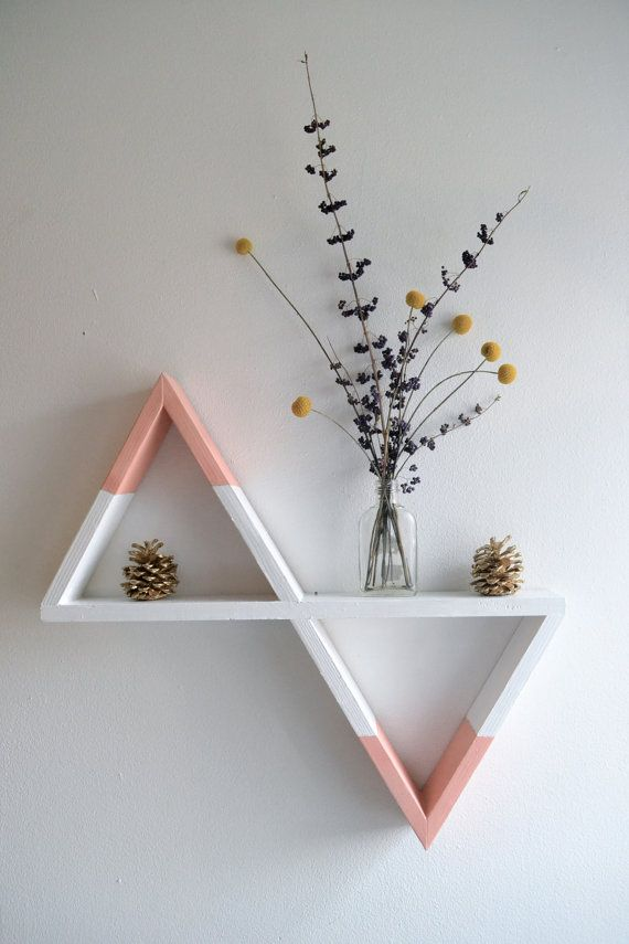 Geometric Shelf White and Peach