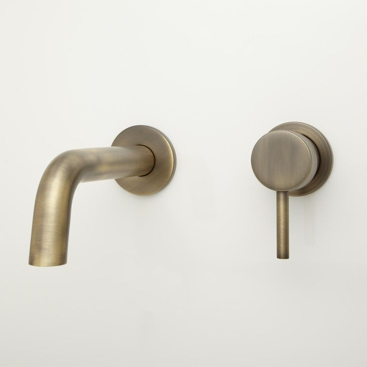 Signiture Hardware - ROTUNDA WALL-MOUNT BATHROOM FAUCET - NO OVERFLOW - ANTIQUE BRASS $159.95