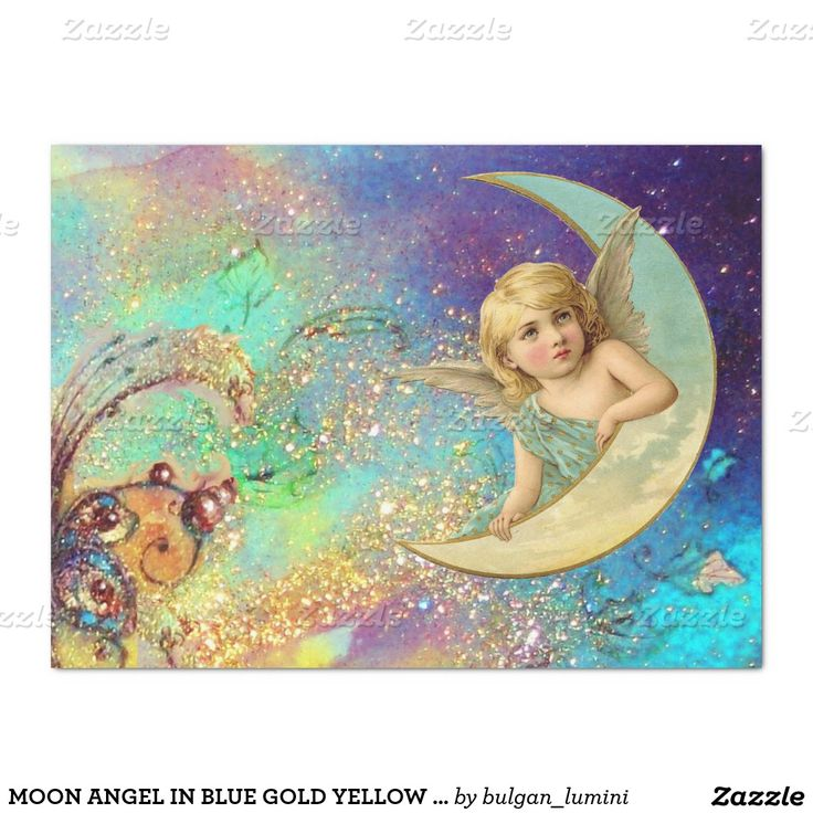 "MOON ANGEL IN BLUE GOLD YELLOW FLORAL SPARKLES 17"" X 23"" TISSUE PAPER"