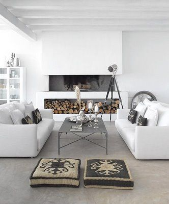 Fireplace and white sofas