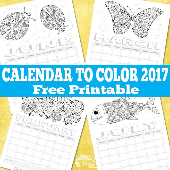 Free printable calendar for kids to color