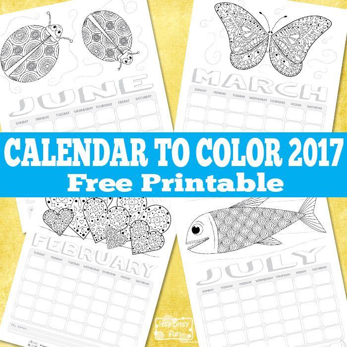 Free Printable Calendar for Kids to Color