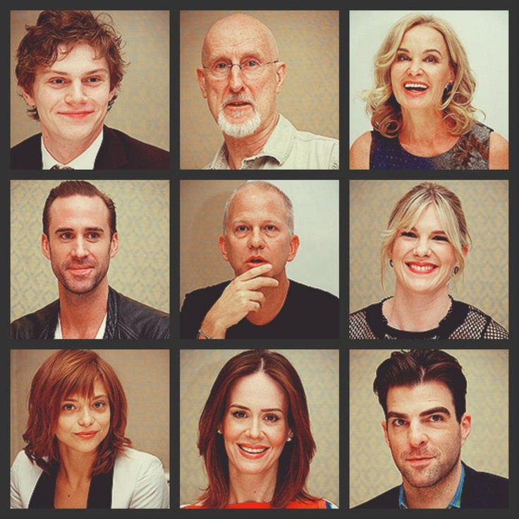 Evan Peters, James Cromwell, Jessica Lange, Joseph Fiennes, Ryan Murphy, Lily Rabe, Lizzie Brocheré, Sarah Paulson, and Zachary Quinto