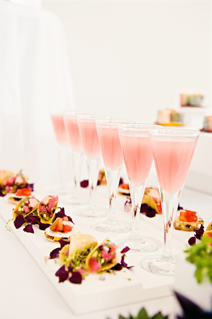 Pink champagne cocktails