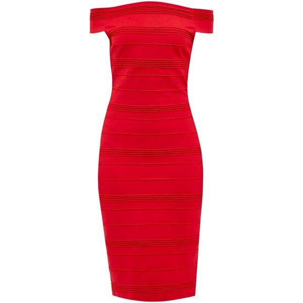 Ted Baker Inan Stripe Texture Bardot Dress, Bright Red (€185) ❤ liked on Polyvore featuring dresses, bodycon mini dress, midi dress, long-sleeve midi dresses, red dress and striped midi dress