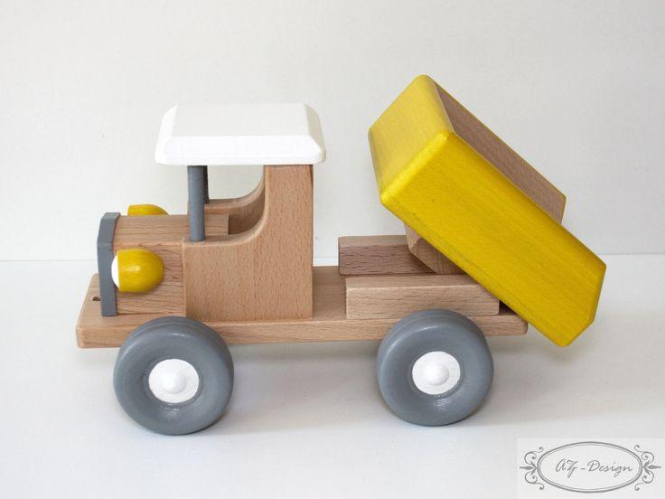 Jouet bois: camion benne en bois, style vintage, benne basculante