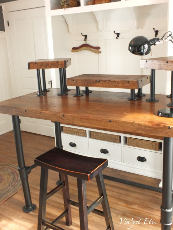 Industrial style desk ~ reveal 1/3 | Vin'yet Etc. Great idea for a firefighter computer desk DIY