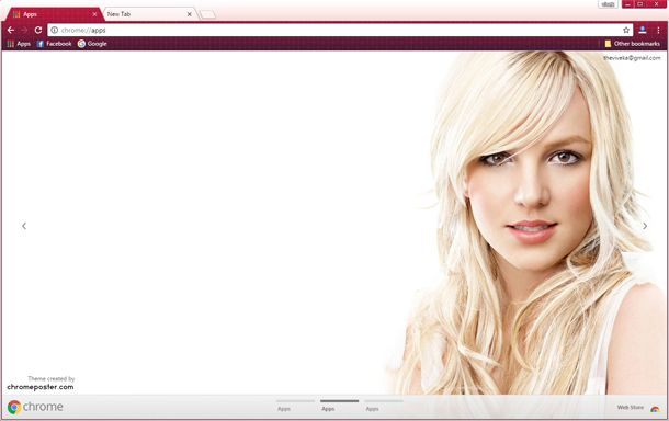 Download Britney Spears Google Chrome HD Theme. ChromePosta has latest Themes and Skins for Celebrities, Girls lover. We are best in custom chrome backgrounds.