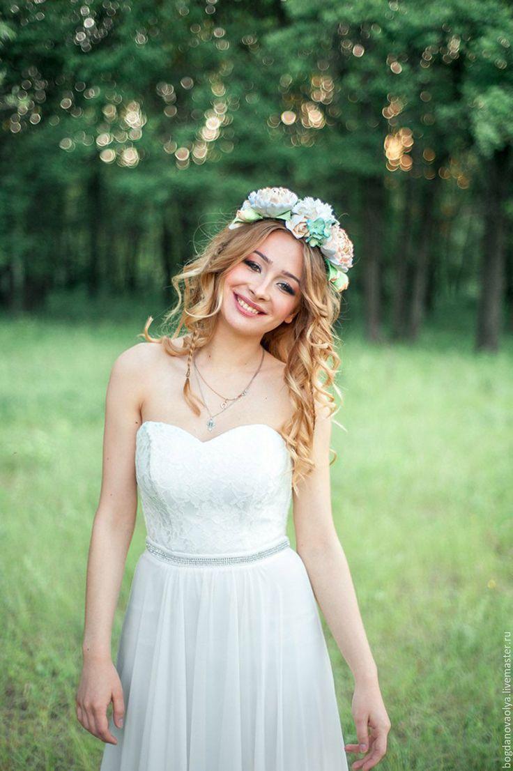 Wedding Band / Ободок для волос из полимерной глины - бежевый, ободок с цветами, ободок для волос, свадебные аксессуары