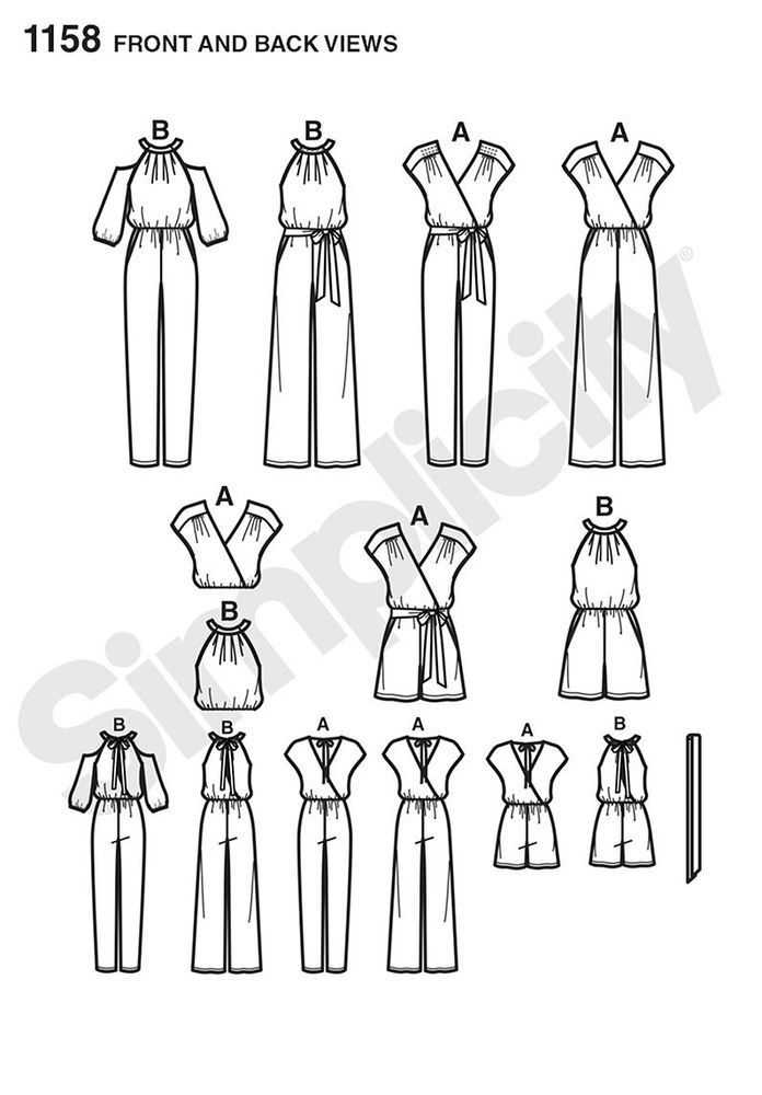 project runway jumpsuit pattern includes two different bodices, long jumpsuit with slim or full leg, and short jumpsuit. v-neck back ties at neck. belt also included. project runway for simplicity.
