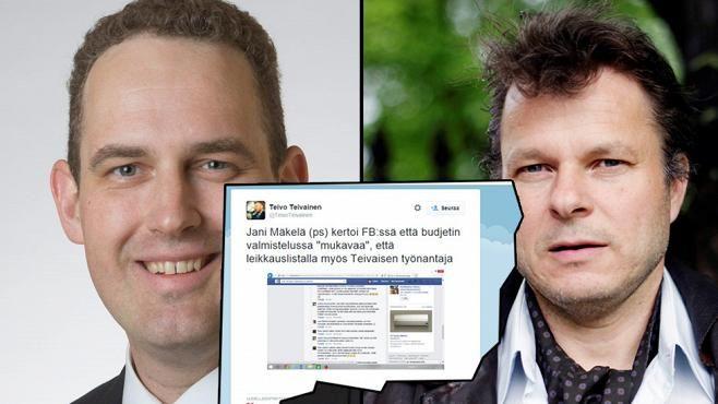 """Kansanedustaja Jani Mäkelä (ps) kirjoitti Facebookissa, että on """"mukavaa, että professori Teivo Teivaisen työnantaja on mukana leikkauslistalla."""""""