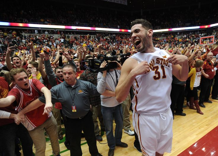 Iowa State's Georges Niang celebrates with fans after the 19th-ranked Cyclones beat No. 1 Oklahoma 82-77 at Hilton Coliseum on Monday. Photo by Nirmalendu Majumdar/Ames Tribune   http://amestrib.com/sports/men-s-basketball-no-19-isu-treats-win-over-no-1-oklahoma-routine