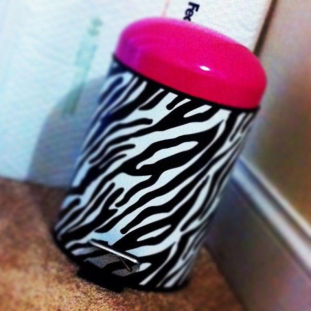 Zebra Print Trash Can