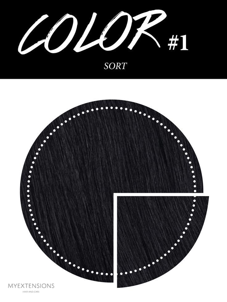 Hair extensions i farve Sort #1. Farven er fri for blåt og lilla skær. Til dig med helt sort hår. Find farven på www.myextensions.dk