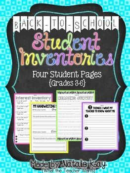 Back to School Student Inventories - Grade 3-6 by Natalie Kay   Teachers Pay Teachers